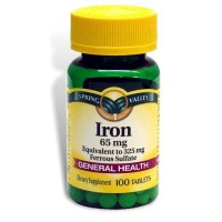 Spring Valley - Iron 65 mg, 100 Tablets