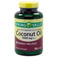 Spring Valley Made With Organic Extra Virgin Coconut Oil, General Wellness, 1000 Mg, 100 Softgels