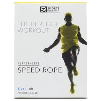 Sweet Sweat Speed Rope by Sports Research | The ONLY adjustable cable rope with duel ball bearing handles | Great for CrossFit Double Unders and Speed Training - Includes bonus Sweet Sweat Gel Sample!