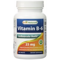 Vitamin B-6 25 mg 250 Tablets -- Supports Casrdiovascular Health -- Manufactured in a USA Based GMP Certified Facility and Third Party Tested for Purity (250 Tablets, 25 mg)