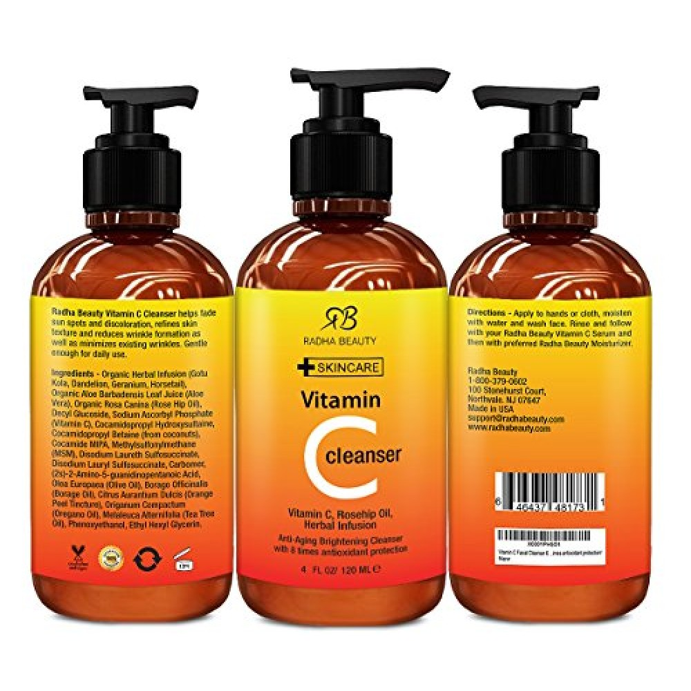 Buy Radha Beauty Vitamin C Facial Cleanser 4 Oz Best Face Wash For Anti Aging Amp Skin