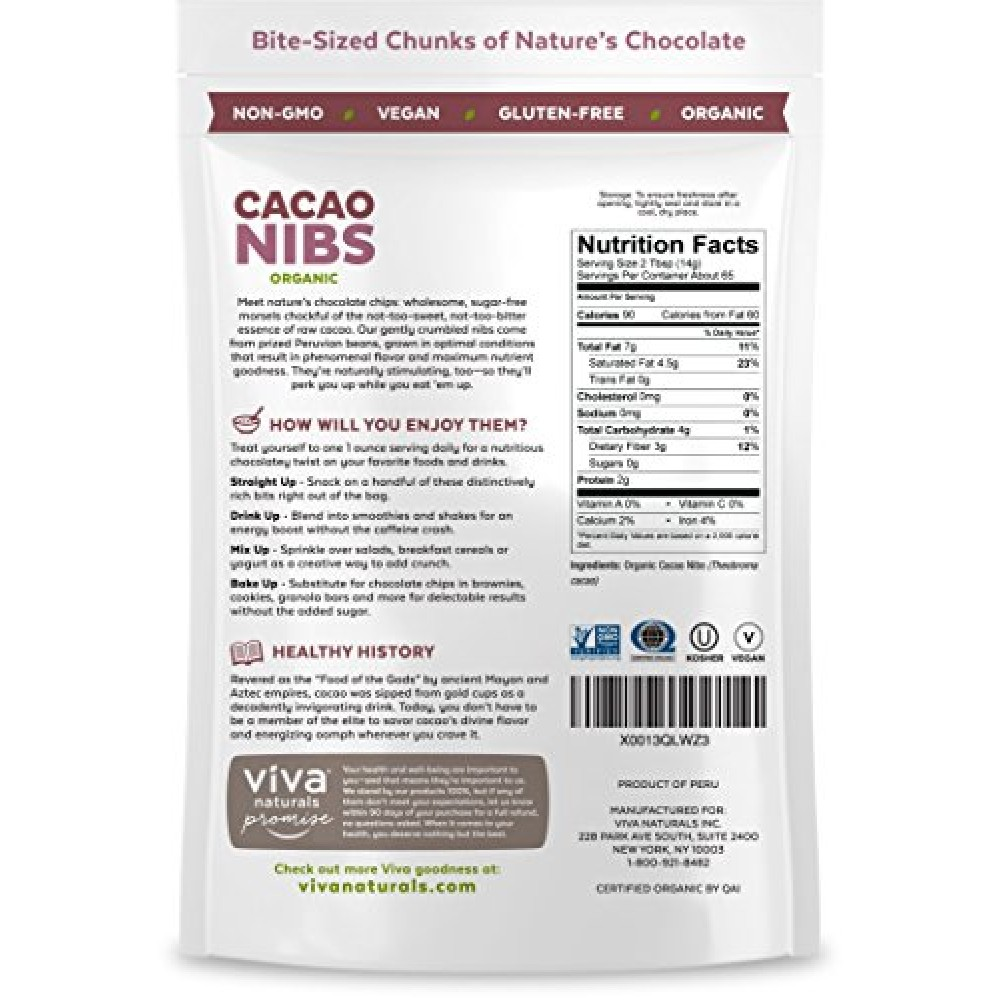 Viva Naturals The Best Tasting Organic Raw Cacao Nibs