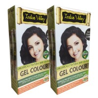 Indus Valley Organically Natural Gel Dark Brown 3.00 One Touch Pack- Twin Set- Hair Color
