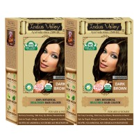 Indus Valley 100% Organic Botanical Dark Brown- Twin Set Of One Touch Pack- USDA Certified Hair Color