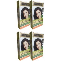 Indus Valley Organically Natural Gel Dark Brown 3.00 One Touch Pack (Set Of 4)