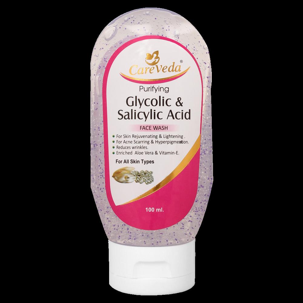 3eb3b42e304 Buy CareVeda Glycolic Acid And Salicylic Acid Face Wash .