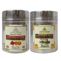 Khadi Pure Rose & Orange And  Sandal & Almond Face Mask/Pack Combo (100g) Pack 2