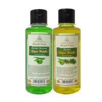 Khadi Pure Aloevera And  Herbal Face Wash Combo (420ml) Pack 2