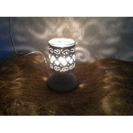 White Metallic Electric Aroma  Diffuser With Rough Finish