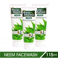 Roop Mantra Neem Face Wash 115ml, Pack of 3, Purifying Neem Facewash for Acne & Pimples, Anti Bacterial Face Wash