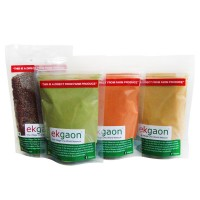 Ekgaon Organic Holi Colours - Yellow, Green, Brown (pack Of Three) + Free Flax Seed 100g Worth Rs.99